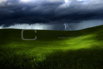 Green land over a storm