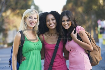 Group of female students having fun