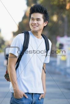 University student wearing rucksack