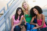 Group of female university students on steps