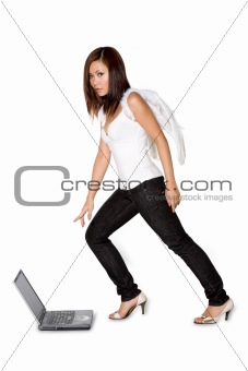 woman angel pointing at laptop curiously