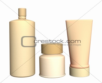 Three cosmetic 3d tubes of beige color