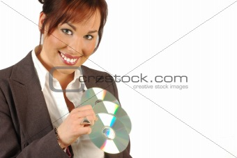 business woman holding cd's