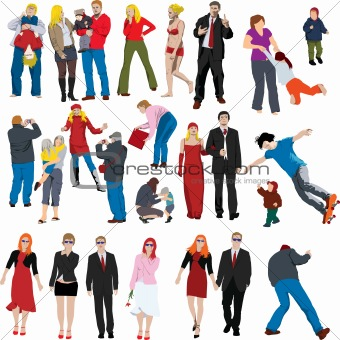 Lots of color people illustrations (vectors)