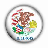 Round Button USA State Flag of Illinois