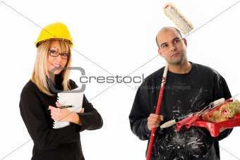 businesswoman and house painter
