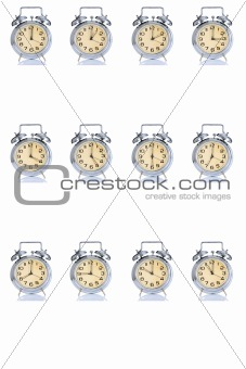 group of alarm clock with times 12 clock