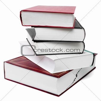thick book stack isolated with clipping path