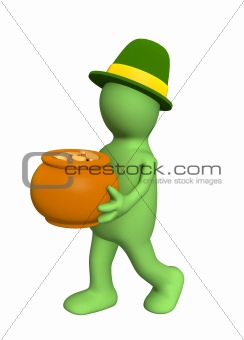 3d puppet - leprechaun, carrying pot with gold coins