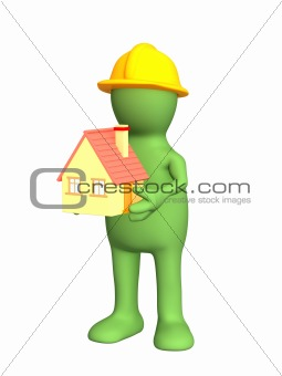 3d builder - puppet, holding in hands model at home