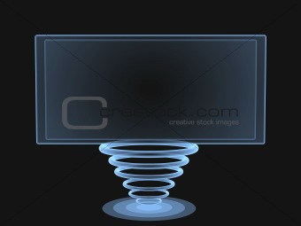 3d digital transparent screen with a support from rings