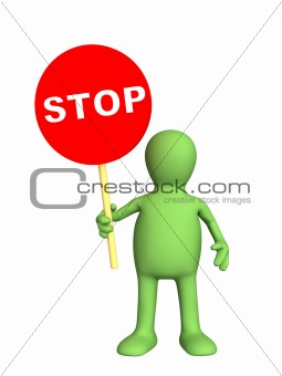 3d person - puppet,  holding in a hand sign stop