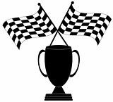 checkered flag with trophy