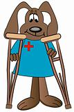 cartoon dog on crutches