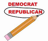 pencil circling the word republican over democrat