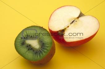 apple and kiwi profile on yellow