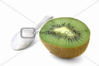 kiwi with spoon on white