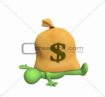 3d person - puppet, pressed down by a bag with dollars