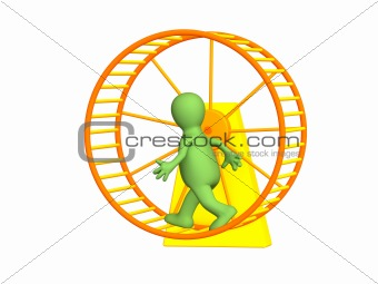 3d person - puppet, running inside a wheel