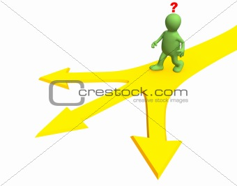 3d person, going to a fork of three roads