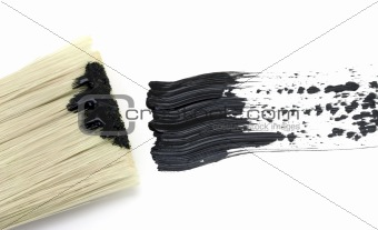 Painting - Black brush stroke with brush