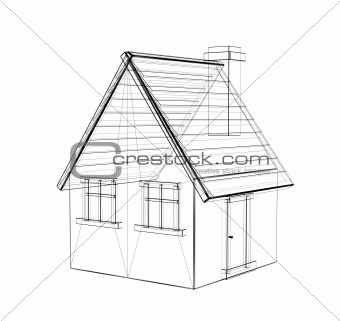 The 3d Drawing Of A Rural House