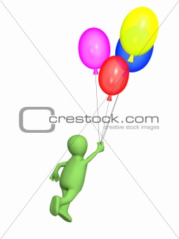 3d  person - puppet, flying by balloons