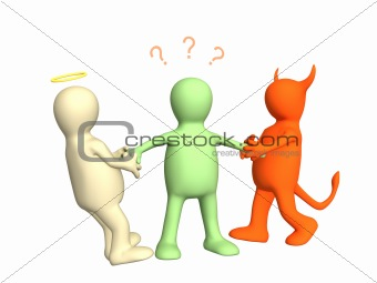 3d devil and angel pulling person for hands