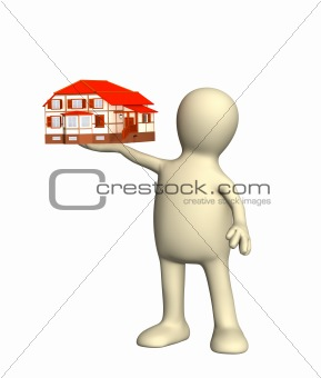3d person a puppet holding in a hand a small cottage