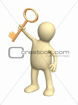 3d person a puppet holding in a hand a gold key