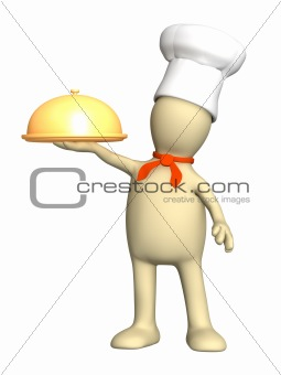 3d puppet - cook, holding in a hand a golden dish