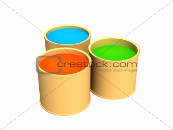 Three buckets with green, dark-blue and red paints