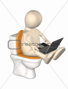 3d puppet, sitting with a notebook on toilet bowl