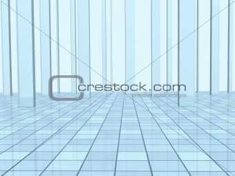 Abstract background with columns and a tiled floor