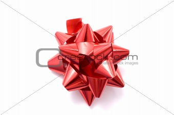 a red ribbon in a white background