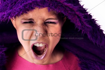 Agressive screaming woman
