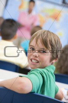Elementary school pupil in classroom