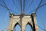 Steel Cables and the Pylon of the Brooklyn Bridge, New York