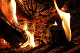Flames and Coals in the Fireplace