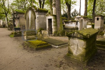 Cemetery with aged tombs