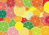 Citrus slices multicolored background.