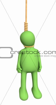 3d person puppet, hanging in a rope loop