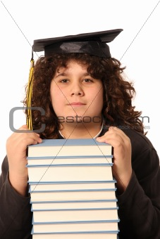 boy and many books