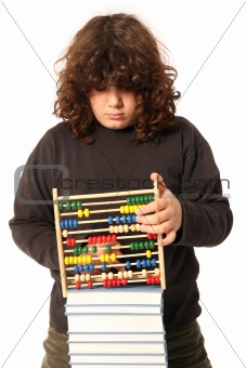 boy with abacus calculator