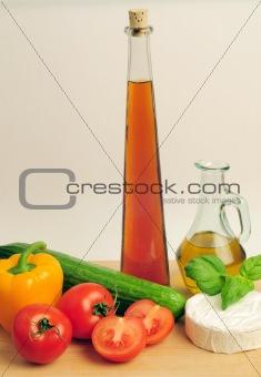 olive oil an vinegar on wooden desk