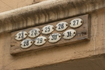 Apartment numbers
