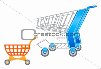 Adult and children shopping carts