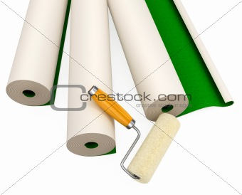 wallpapers and roller tool for house repairing isolated
