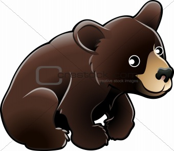 American Black Bear Cute Vector Illustration