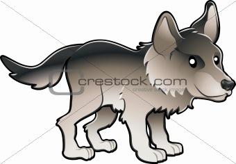 Cute Wolf Vector Illustration